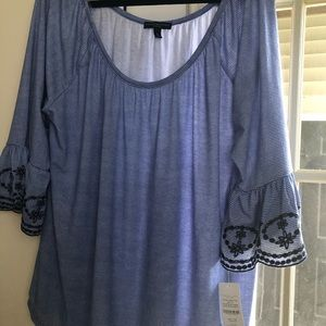 Bell sleeve tee new with tags 3x scoop neck strip